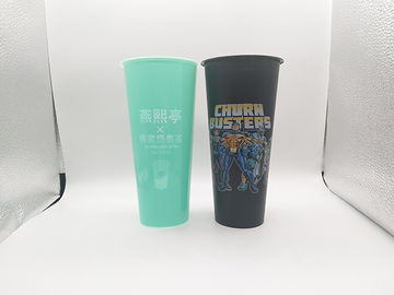 BPA Free Plastic Milk Tea Drinking Cups Iml In Mould Labeling 700ml