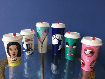 Wholesale eco friendly durable custom logo printed IML container pp drink cup disposable juice cup plastic cup coffee wi