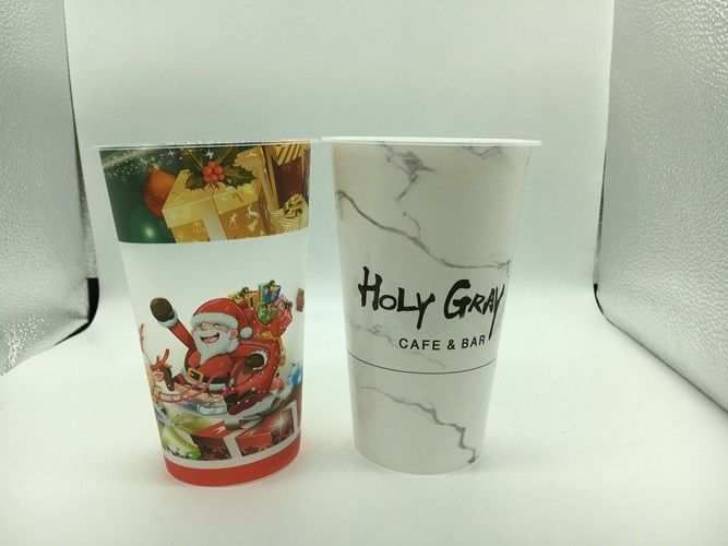 Cold Drink Printed Plastic Cups with lid Hard / PP Plastic Injection Bubble Tea Cup