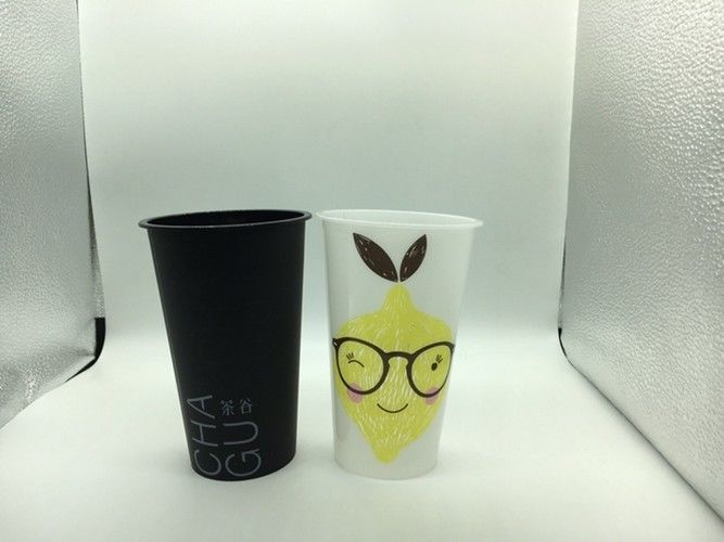 Injection Molded PP Plastic Beverage Cups for Milk Tea Juice , Iml Products