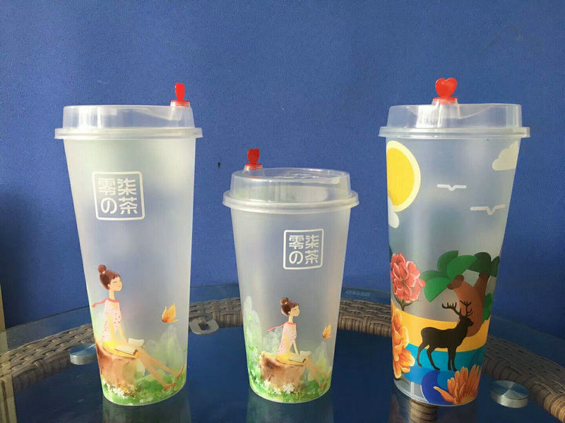 Promotional Printed Plastic Stadium Cups for  Red Coffee / Drinking / Beer