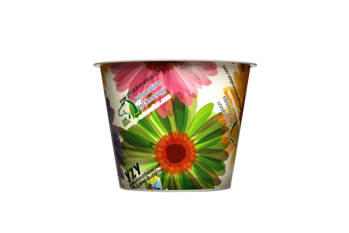Customized Ice Cream Yogurt  Iml Plastic Containers with spoon in mould label cup