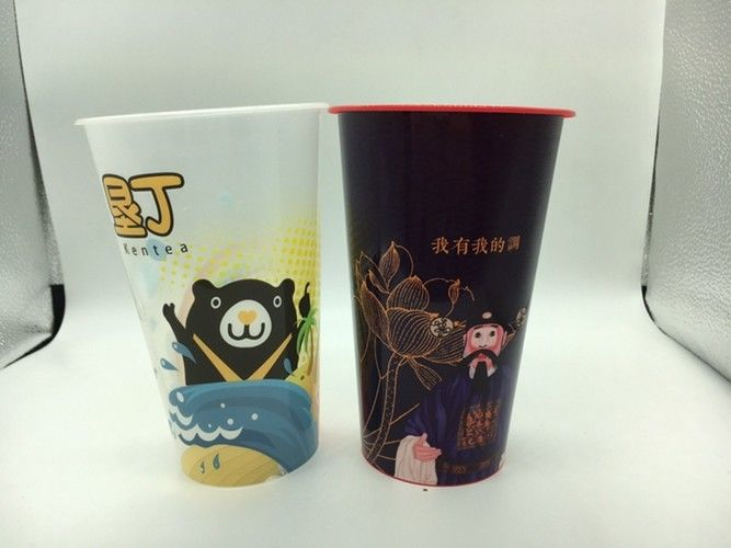 Plastic Water Cups Color IML In Mold Label Printing Customised Design Logo