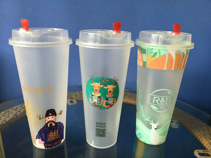 Promotional Plastic water IML Cups , Custom Printing in mould label cup for juice